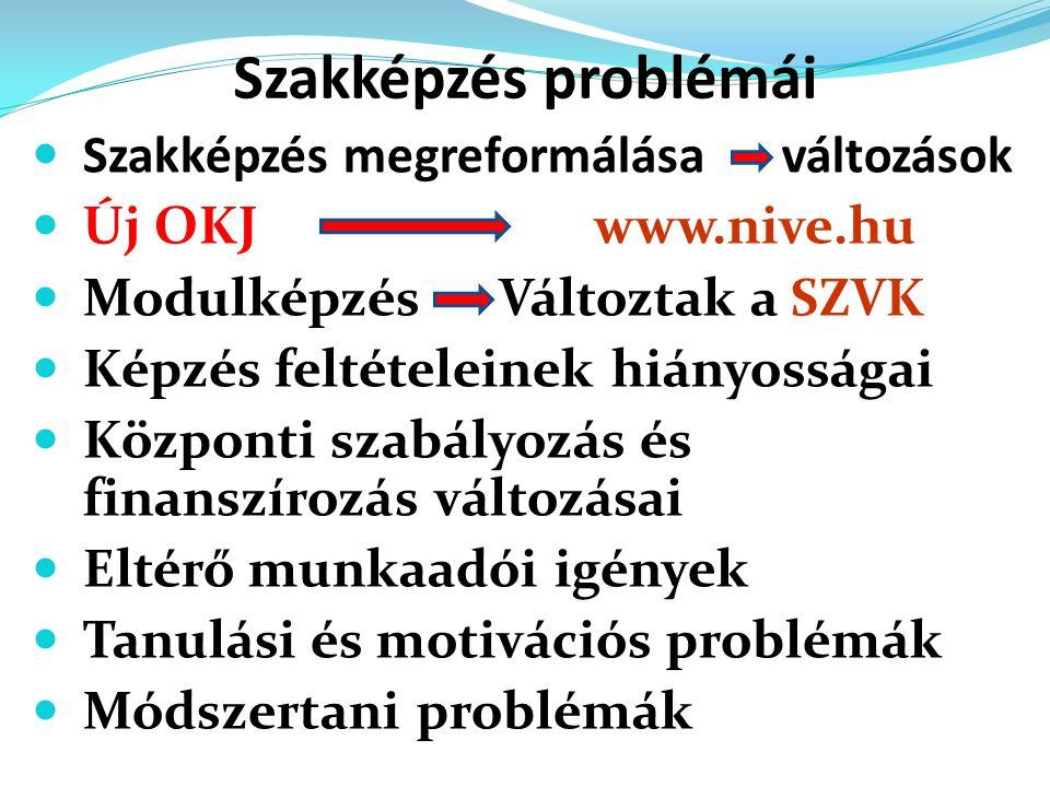 Szakképzés problémái  Szakképzés megreformálása változások  Új OKJ  Új OKJ www.nive.hu  Modulképzés Változtak a  Modulképzés Változtak a SZVK  K