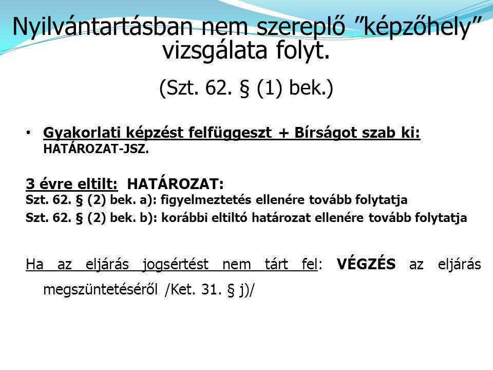 • Gyakorlati képzést felfüggeszt + Bírságot szab ki: HATÁROZAT-JSZ. 3 évre eltilt: HATÁROZAT: Szt. 62. § (2) bek. a): figyelmeztetés ellenére tovább f