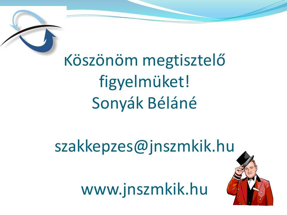 Köszönöm megtisztelő figyelmüket! Sonyák Béláné szakkepzes@jnszmkik.hu www.jnszmkik.hu