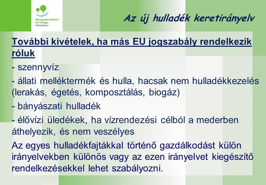 Az új hulladék keretirányelv További kivételek, ha más EU jogszabály rendelkezik róluk - szennyvíz - állati melléktermék és hulla, hacsak nem hulladék