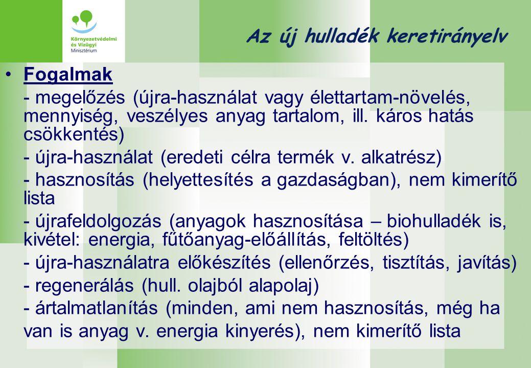 Az új hulladék keretirányelv Hierarchia megelőzés újra-használatra előkészítés újrafeldolgozás egyéb hasznosítás, pl.