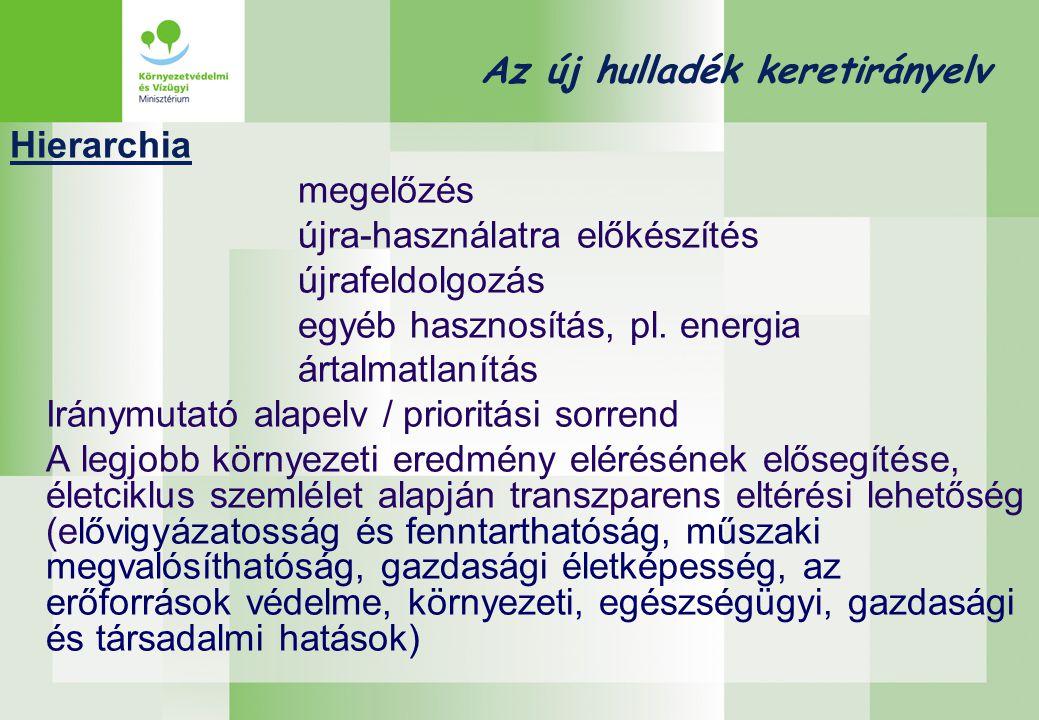 Az új hulladék keretirányelv Hierarchia megelőzés újra-használatra előkészítés újrafeldolgozás egyéb hasznosítás, pl. energia ártalmatlanítás Iránymut