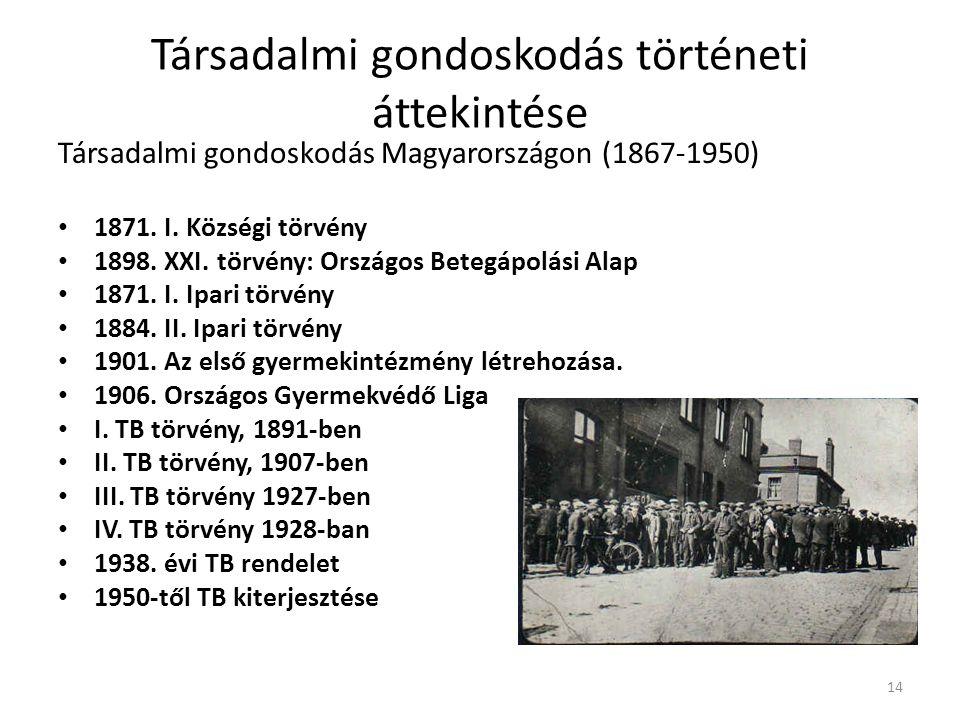 Társadalmi gondoskodás történeti áttekintése Társadalmi gondoskodás Magyarországon (1867-1950) • 1871. I. Községi törvény • 1898. XXI. törvény: Ország