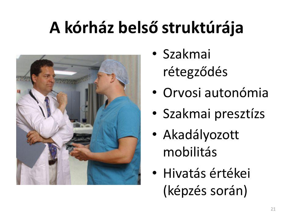 A kórház belső struktúrája 21 • Szakmai rétegződés • Orvosi autonómia • Szakmai presztízs • Akadályozott mobilitás • Hivatás értékei (képzés során)