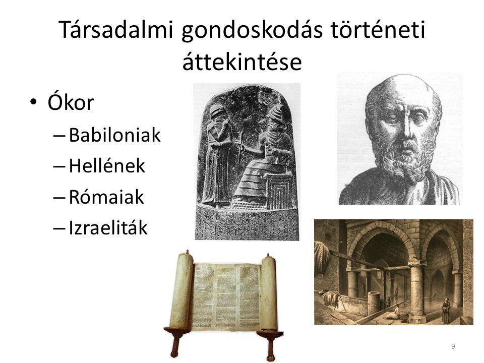 Társadalmi gondoskodás történeti áttekintése • Ókor – Babiloniak – Hellének – Rómaiak – Izraeliták 9