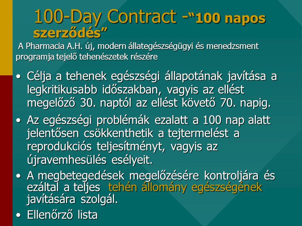 100-Day Contract - 100 napos szerződés •Célja a tehenek egészségi állapotának javítása a legkritikusabb időszakban, vagyis az ellést megelőző 30.