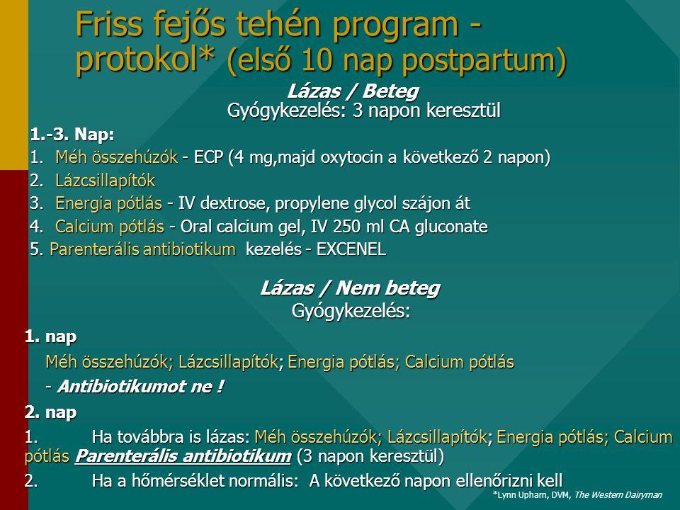 Friss fejős tehén program - protokol* (első 10 nap postpartum) Lázas / Beteg Gyógykezelés: 3 napon keresztül 1.-3.