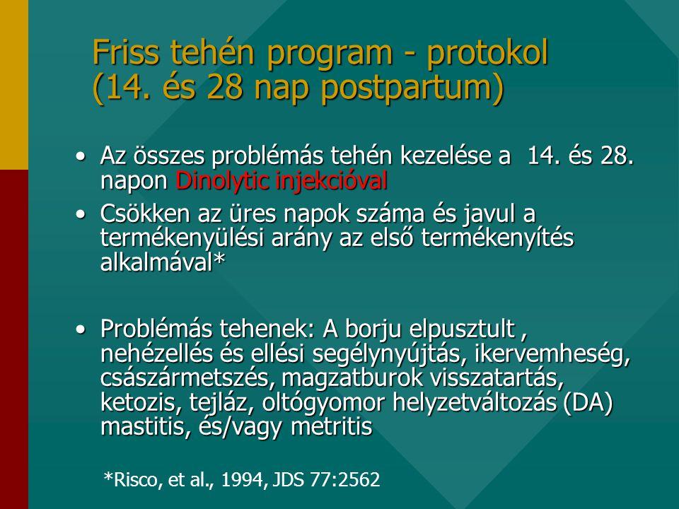 Friss tehén program - protokol (14.és 28 nap postpartum) •Az összes problémás tehén kezelése a 14.