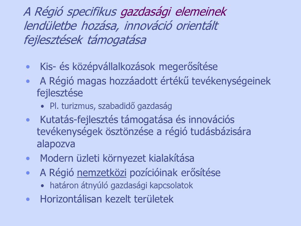 A Régió specifikus gazdasági elemeinek lendületbe hozása, innováció orientált fejlesztések támogatása • Kis- és középvállalkozások megerősítése • A Régió magas hozzáadott értékű tevékenységeinek fejlesztése •Pl.