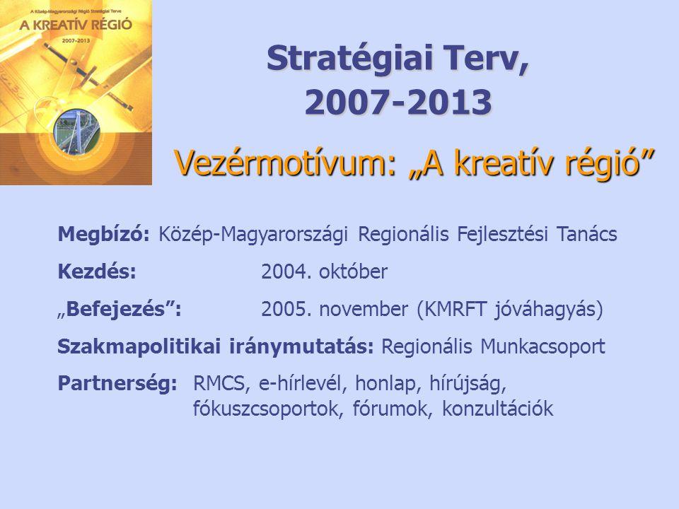 """Stratégiai Terv, 2007-2013 Megbízó: Közép-Magyarországi Regionális Fejlesztési Tanács Kezdés: 2004. október """"Befejezés"""": 2005. november (KMRFT jóváhag"""