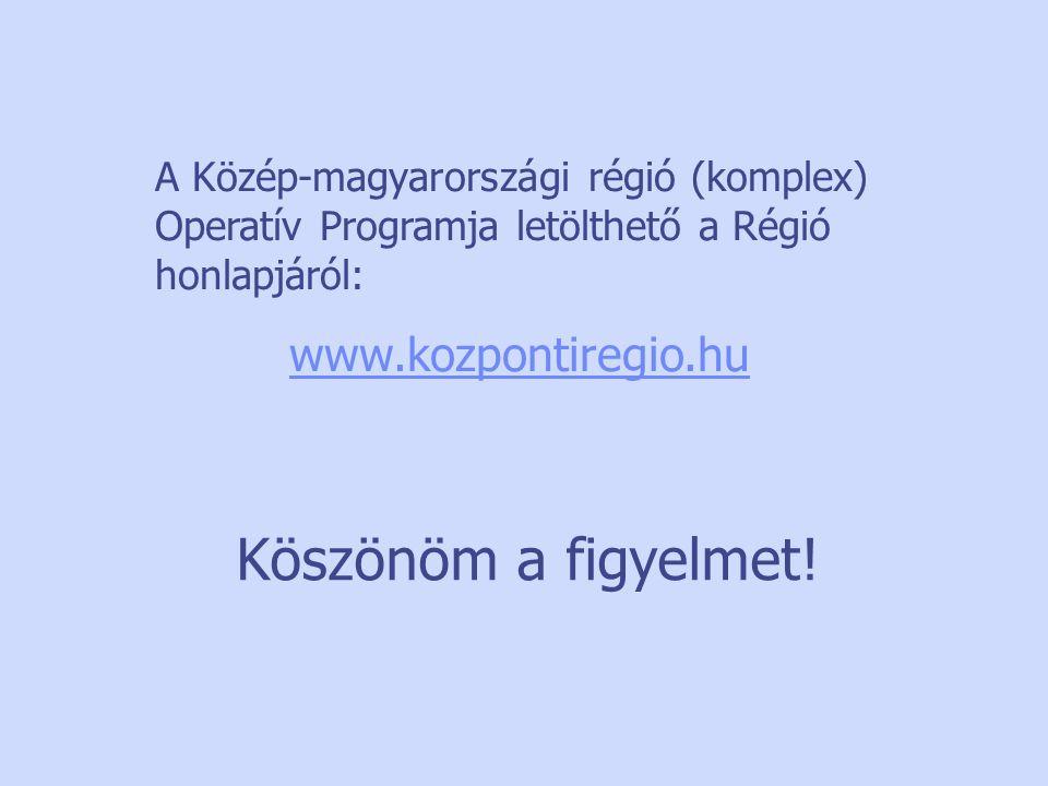 A Közép-magyarországi régió (komplex) Operatív Programja letölthető a Régió honlapjáról: www.kozpontiregio.hu Köszönöm a figyelmet!