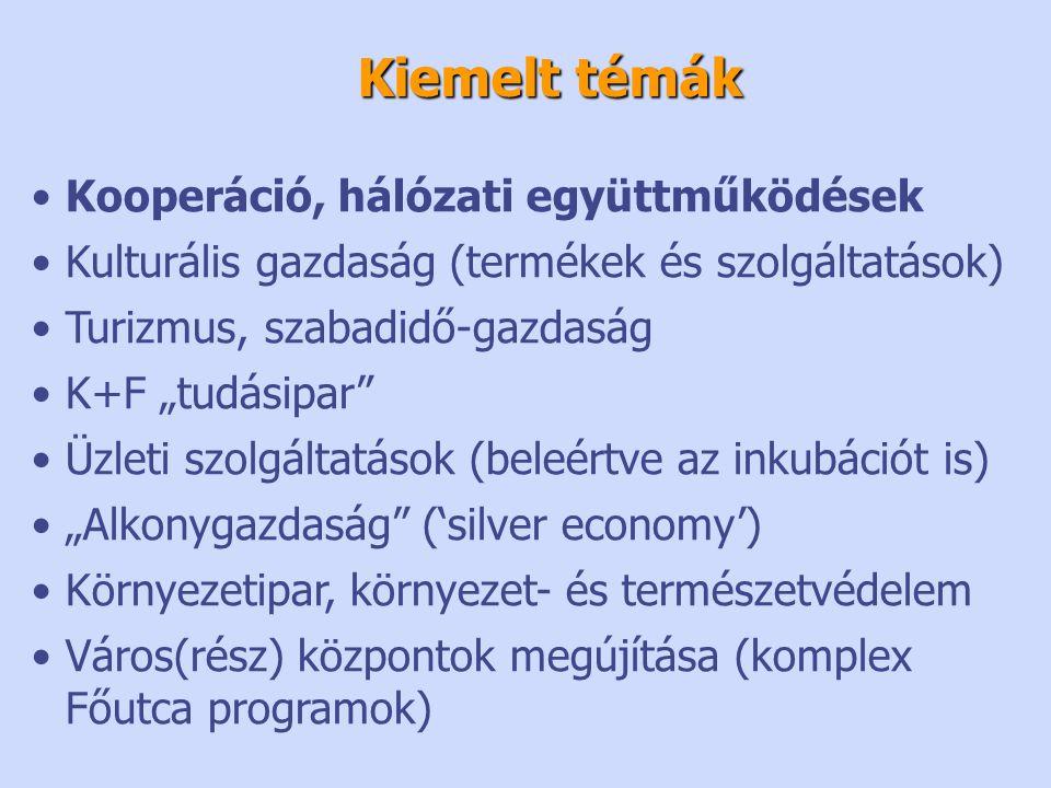 """•Kooperáció, hálózati együttműködések •Kulturális gazdaság (termékek és szolgáltatások) •Turizmus, szabadidő-gazdaság •K+F """"tudásipar •Üzleti szolgáltatások (beleértve az inkubációt is) •""""Alkonygazdaság ('silver economy') •Környezetipar, környezet- és természetvédelem •Város(rész) központok megújítása (komplex Főutca programok) Kiemelt témák"""