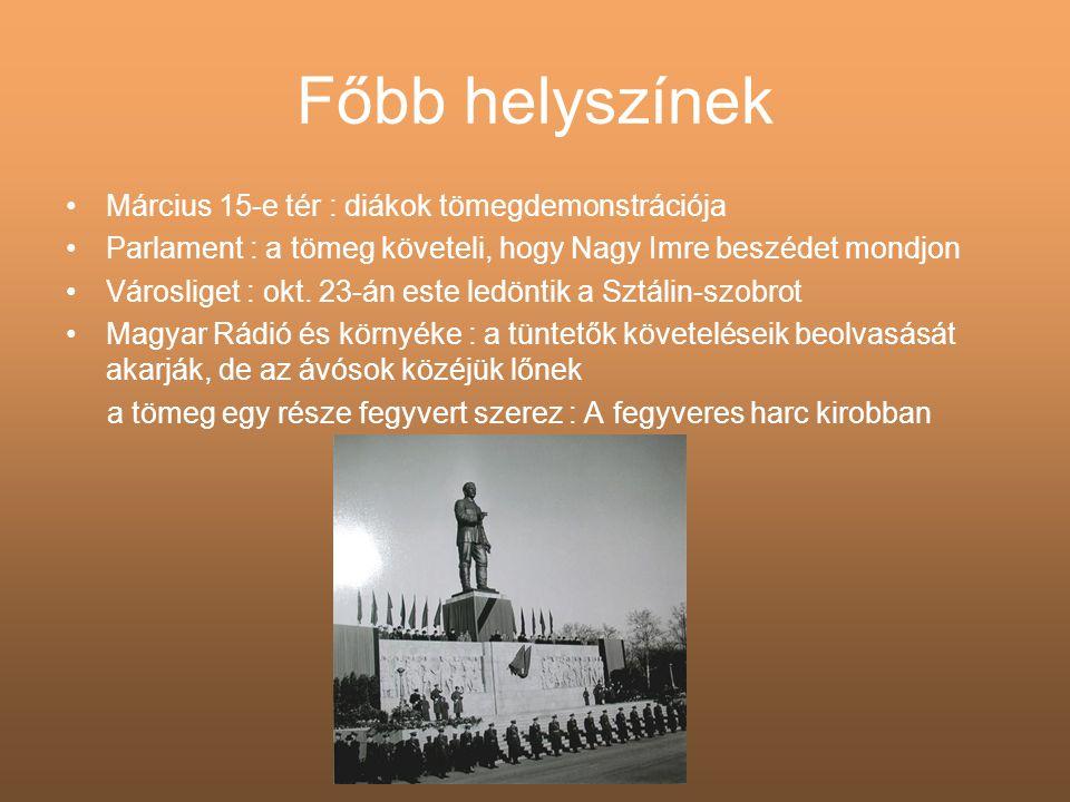 A felkelés első napjai •Okt.23-án este a szovjet páncélosok megjelentek Budapesten •Okt.