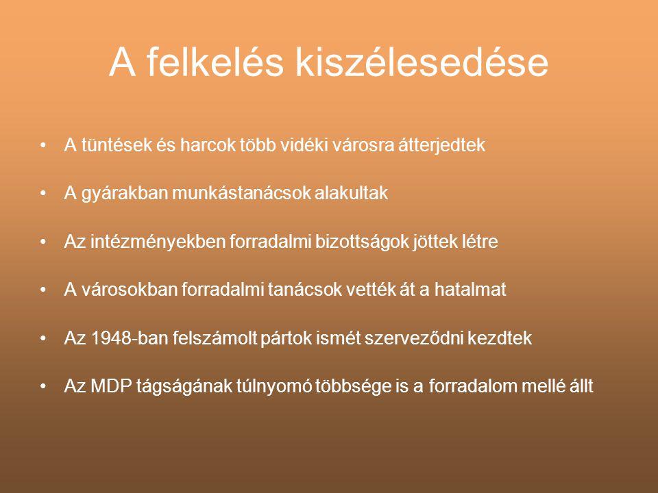 A forradalom győzelme •Nagy Imre elfogadta, hogy Magyarországon nemzeti szabadságharc, forradalom zajlik •Okt.
