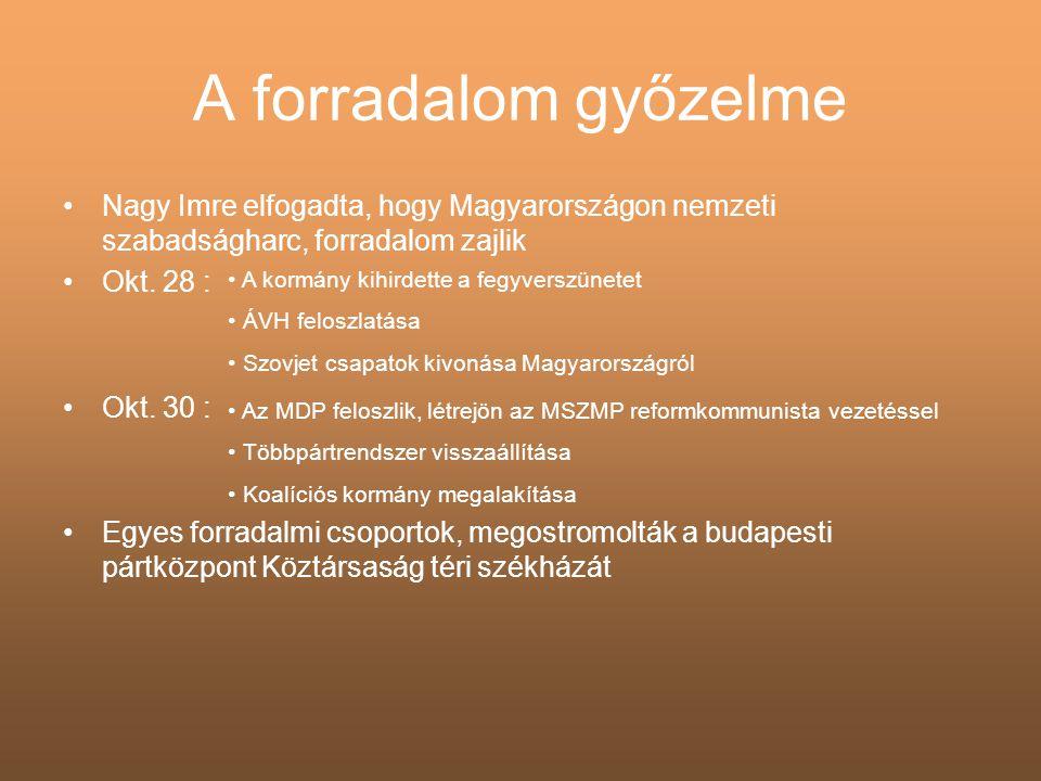 A forradalom győzelme •Nagy Imre elfogadta, hogy Magyarországon nemzeti szabadságharc, forradalom zajlik •Okt. 28 : •Okt. 30 : •Egyes forradalmi csopo