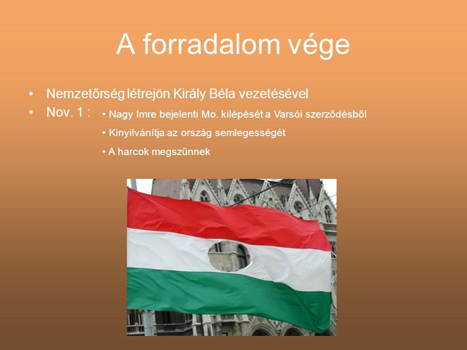 A forradalom vége •Nemzetőrség létrejön Király Béla vezetésével •Nov. 1 : • Nagy Imre bejelenti Mo. kilépését a Varsói szerződésből • Kinyilvánítja az