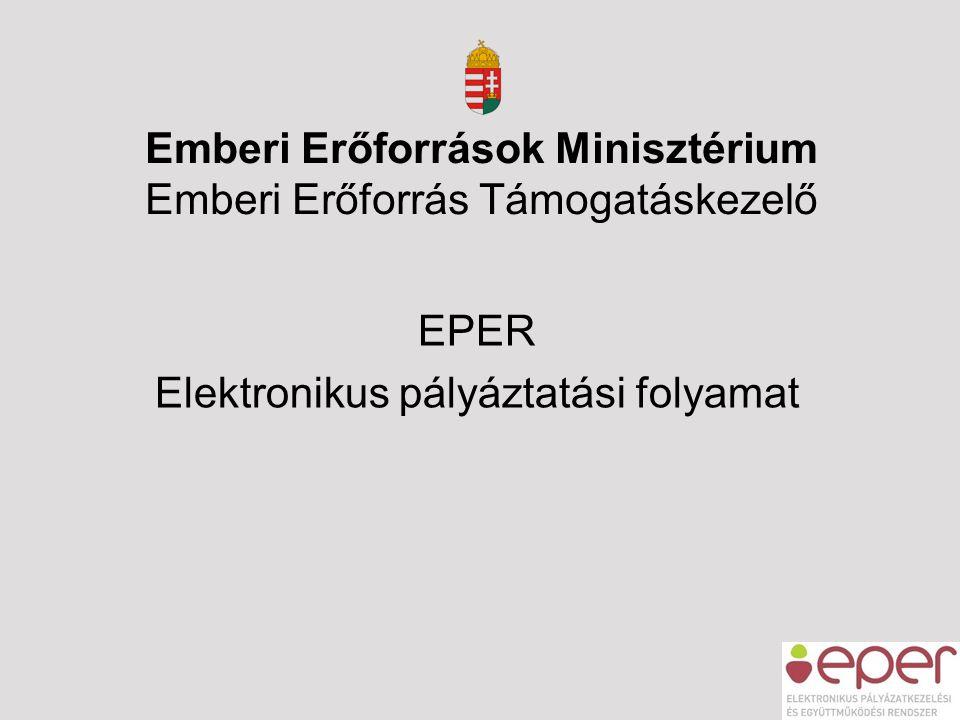 EPER Elektronikus pályáztatási folyamat Emberi Erőforrások Minisztérium Emberi Erőforrás Támogatáskezelő