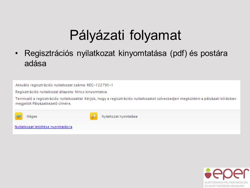 Pályázati folyamat •Regisztrációs nyilatkozat kinyomtatása (pdf) és postára adása