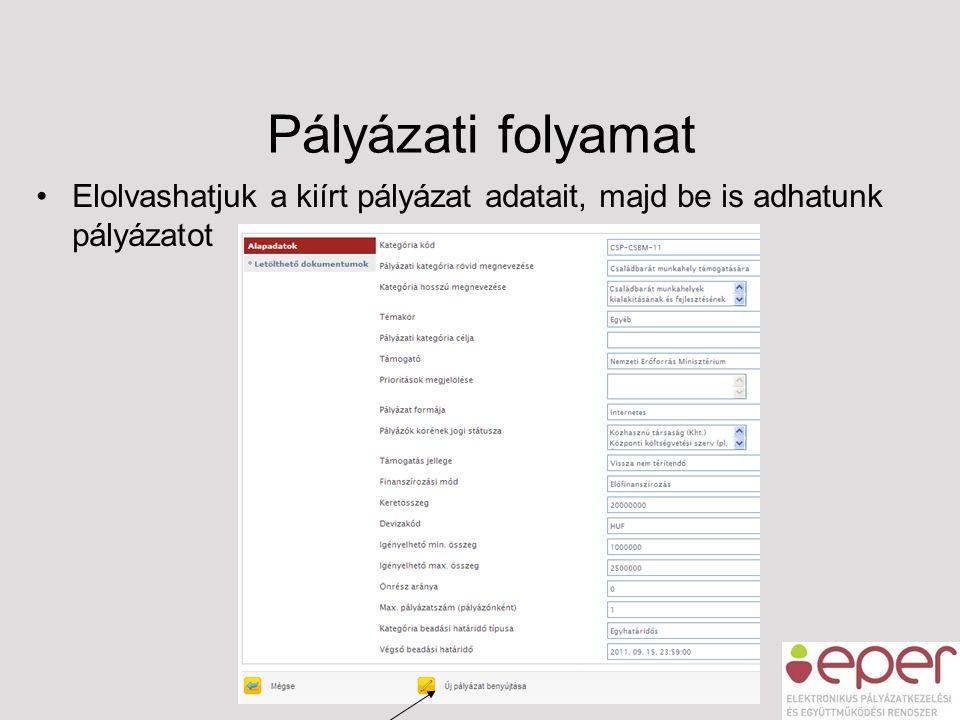 Pályázati folyamat •Elolvashatjuk a kiírt pályázat adatait, majd be is adhatunk pályázatot