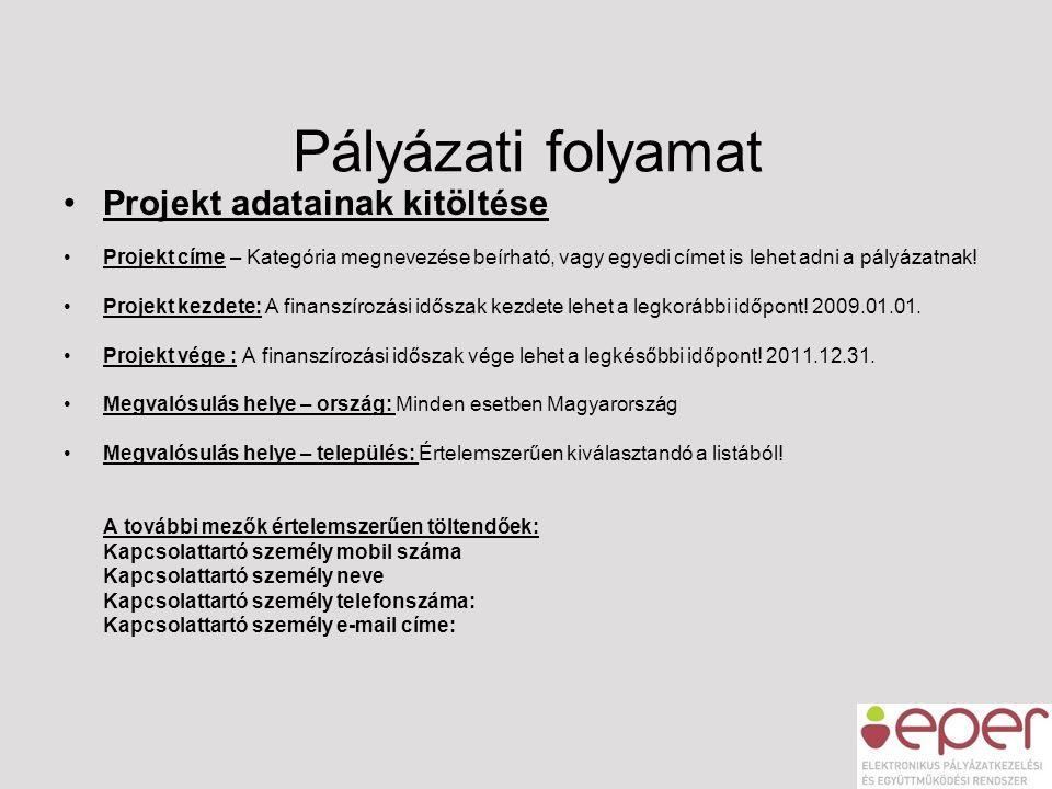 Pályázati folyamat •Projekt adatainak kitöltése •Projekt címe – Kategória megnevezése beírható, vagy egyedi címet is lehet adni a pályázatnak! •Projek
