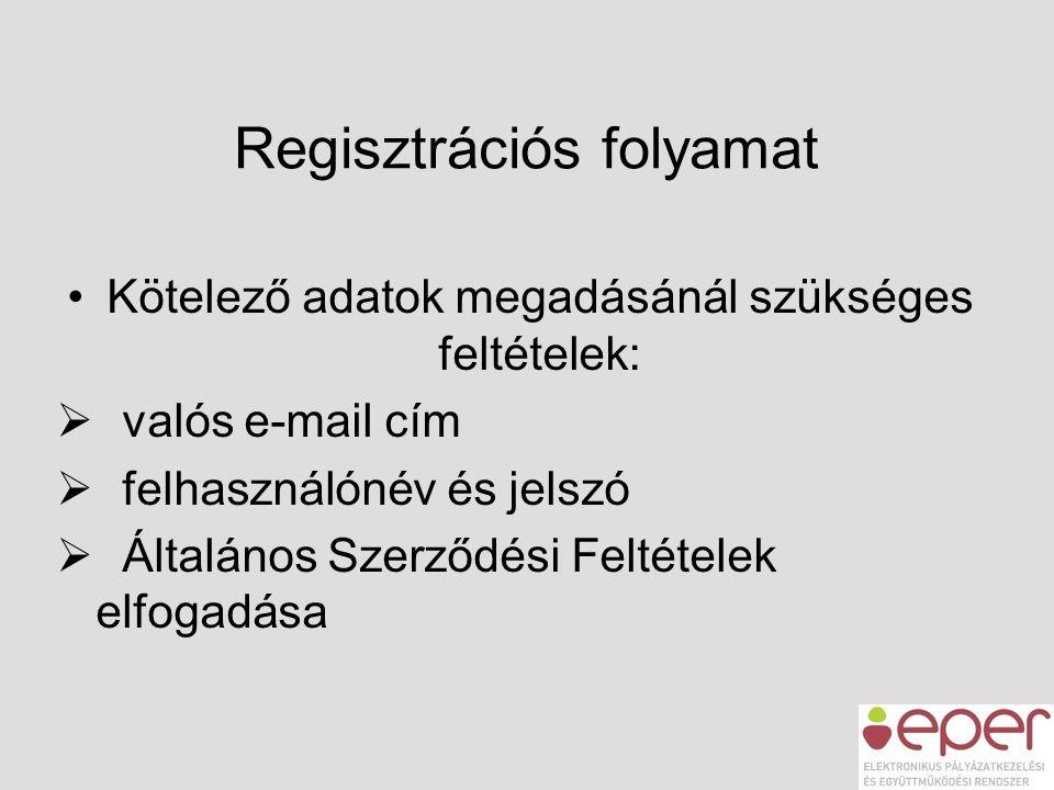 Regisztrációs folyamat •Kötelező adatok megadásánál szükséges feltételek:  valós e-mail cím  felhasználónév és jelszó  Általános Szerződési Feltéte