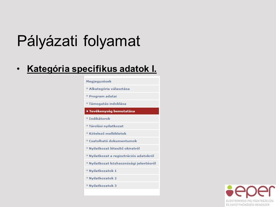 Pályázati folyamat •Kategória specifikus adatok I.
