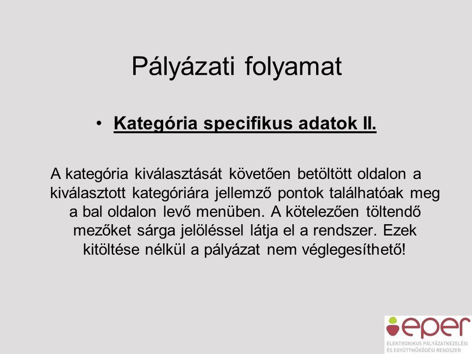 Pályázati folyamat •Kategória specifikus adatok II. A kategória kiválasztását követően betöltött oldalon a kiválasztott kategóriára jellemző pontok ta