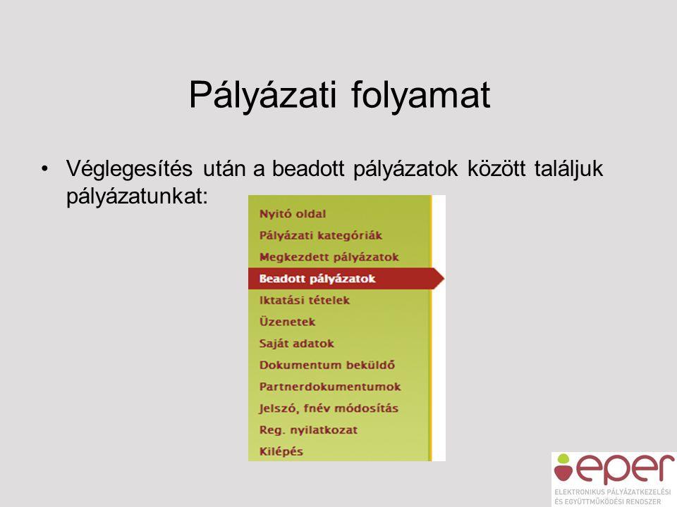 Pályázati folyamat •Véglegesítés után a beadott pályázatok között találjuk pályázatunkat: