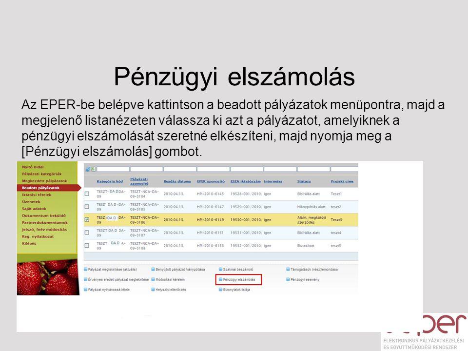 Pénzügyi elszámolás Az EPER-be belépve kattintson a beadott pályázatok menüpontra, majd a megjelenő listanézeten válassza ki azt a pályázatot, amelyik