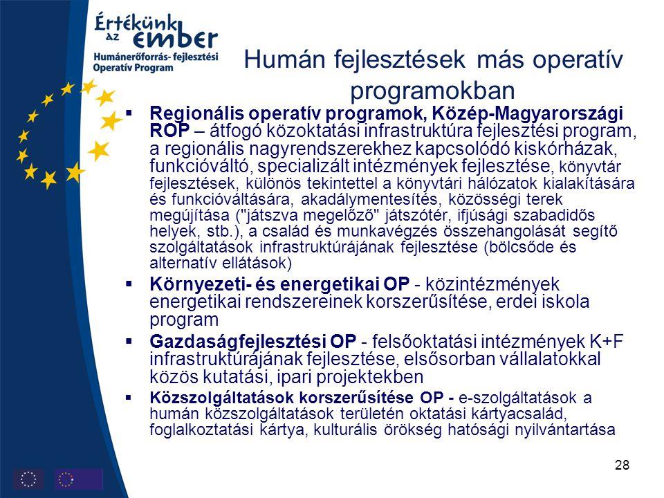 28 Humán fejlesztések más operatív programokban  Regionális operatív programok, Közép-Magyarországi ROP – átfogó közoktatási infrastruktúra fejlesztési program, a regionális nagyrendszerekhez kapcsolódó kiskórházak, funkcióváltó, specializált intézmények fejlesztése, könyvtár fejlesztések, különös tekintettel a könyvtári hálózatok kialakítására és funkcióváltására, akadálymentesítés, közösségi terek megújítása ( játszva megelőző játszótér, ifjúsági szabadidős helyek, stb.), a család és munkavégzés összehangolását segítő szolgáltatások infrastruktúrájának fejlesztése (bölcsőde és alternatív ellátások)  Környezeti- és energetikai OP - közintézmények energetikai rendszereinek korszerűsítése, erdei iskola program  Gazdaságfejlesztési OP - felsőoktatási intézmények K+F infrastruktúrájának fejlesztése, elsősorban vállalatokkal közös kutatási, ipari projektekben  Közszolgáltatások korszerűsítése OP - e-szolgáltatások a humán közszolgáltatások területén oktatási kártyacsalád, foglalkoztatási kártya, kulturális örökség hatósági nyilvántartása