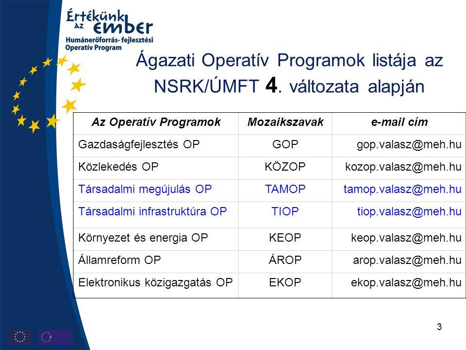 3 Ágazati Operatív Programok listája az NSRK/ÚMFT 4.
