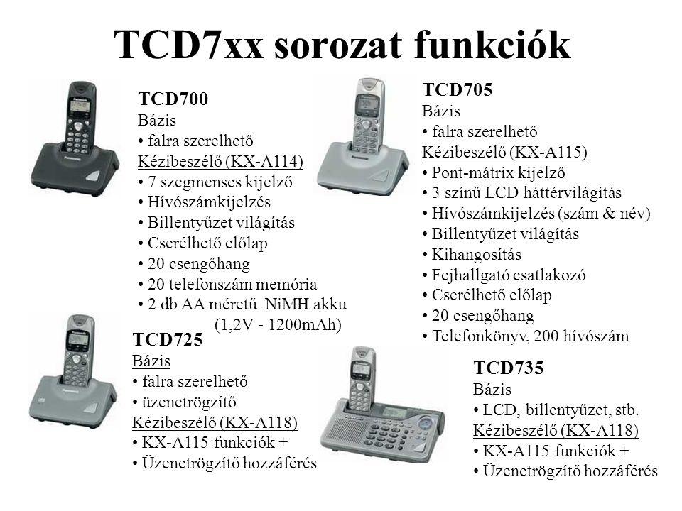 TCD7xx sorozat funkciók TCD700 Bázis • falra szerelhető Kézibeszélő (KX-A114) • 7 szegmenses kijelző • Hívószámkijelzés • Billentyűzet világítás • Cse