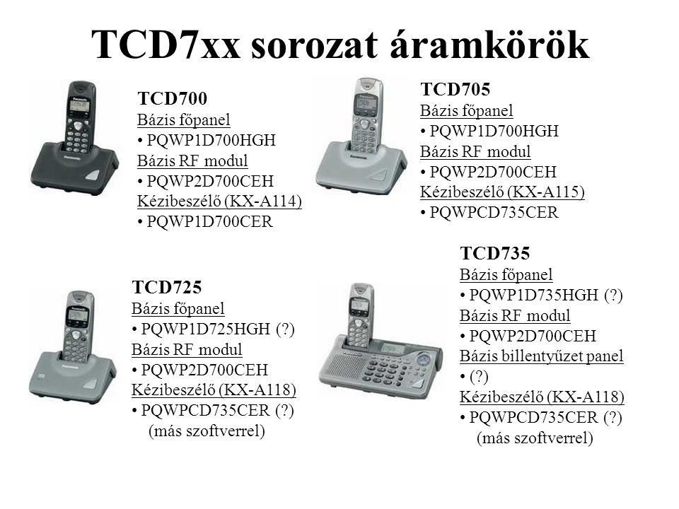 TCD7xx sorozat áramkörök TCD700 Bázis főpanel • PQWP1D700HGH Bázis RF modul • PQWP2D700CEH Kézibeszélő (KX-A114) • PQWP1D700CER TCD705 Bázis főpanel •