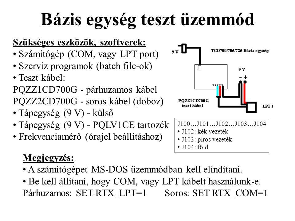 Bázis egység teszt üzemmód Szükséges eszközök, szoftverek: • Számítógép (COM, vagy LPT port) • Szerviz programok (batch file-ok) • Teszt kábel: PQZZ1C