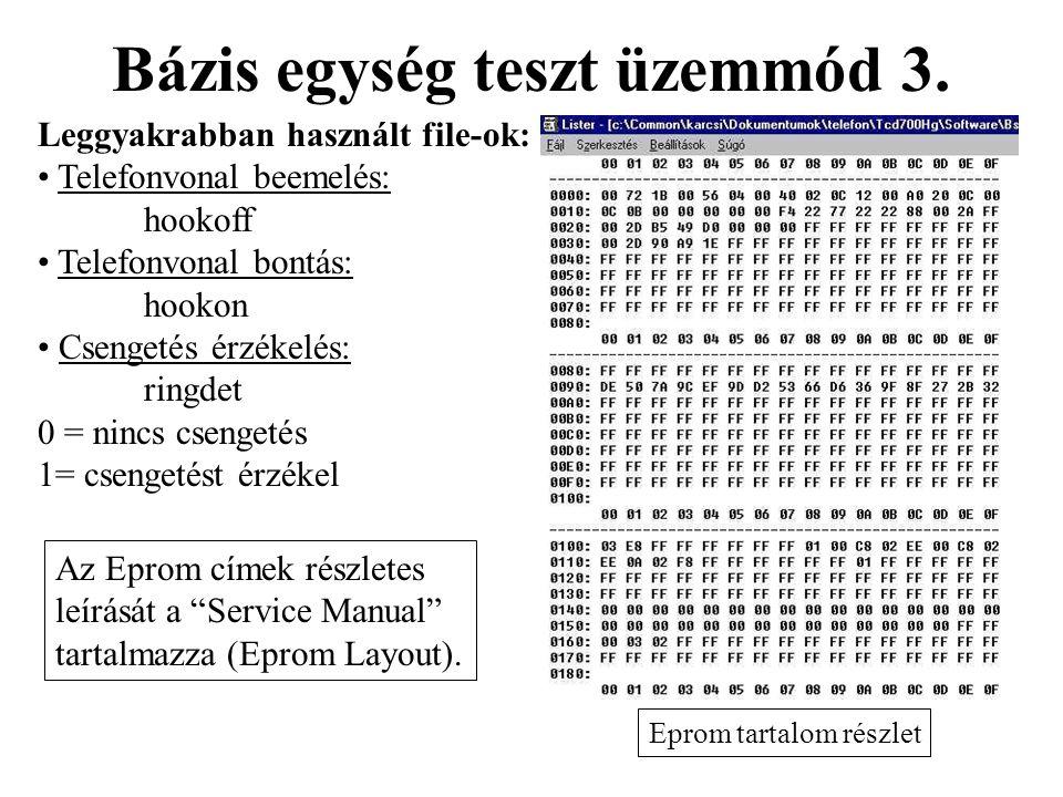 Bázis egység teszt üzemmód 3. Eprom tartalom részlet Leggyakrabban használt file-ok: • Telefonvonal beemelés: hookoff • Telefonvonal bontás: hookon •