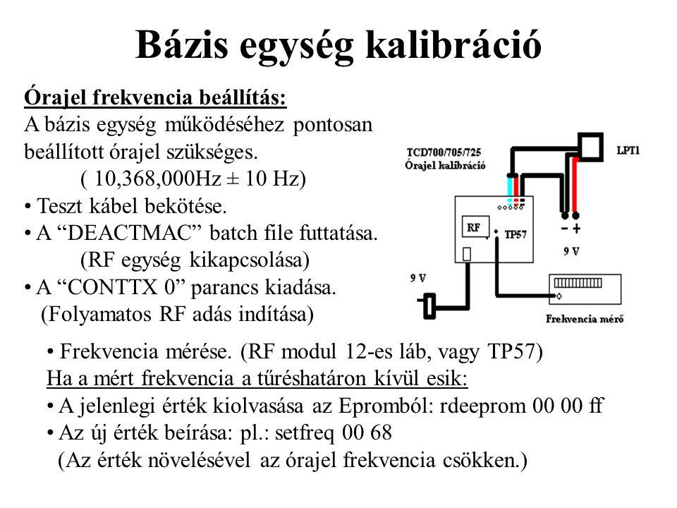 Bázis egység kalibráció Órajel frekvencia beállítás: A bázis egység működéséhez pontosan beállított órajel szükséges. ( 10,368,000Hz ± 10 Hz) • Teszt