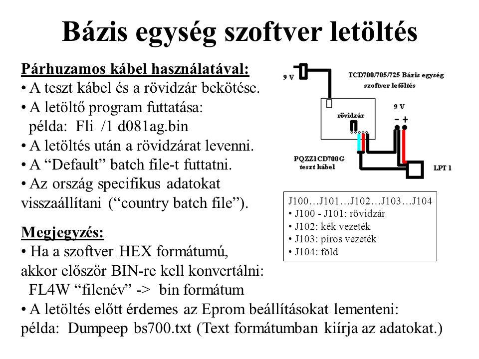 Bázis egység szoftver letöltés Párhuzamos kábel használatával: • A teszt kábel és a rövidzár bekötése. • A letöltő program futtatása: példa: Fli /1 d0