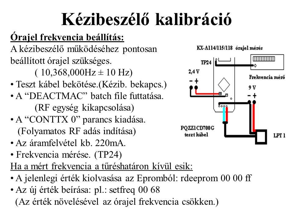 Kézibeszélő kalibráció Órajel frekvencia beállítás: A kézibeszélő működéséhez pontosan beállított órajel szükséges. ( 10,368,000Hz ± 10 Hz) • Teszt ká