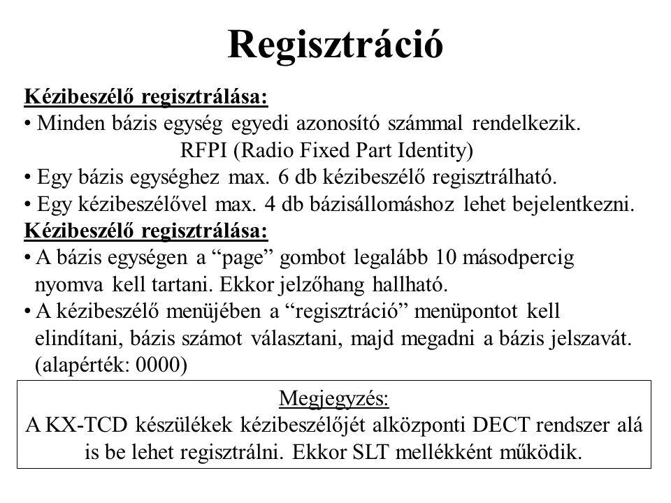 Regisztráció Kézibeszélő regisztrálása: • Minden bázis egység egyedi azonosító számmal rendelkezik. RFPI (Radio Fixed Part Identity) • Egy bázis egysé
