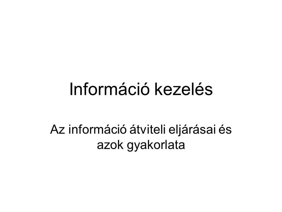 Információ kezelés Az információ átviteli eljárásai és azok gyakorlata