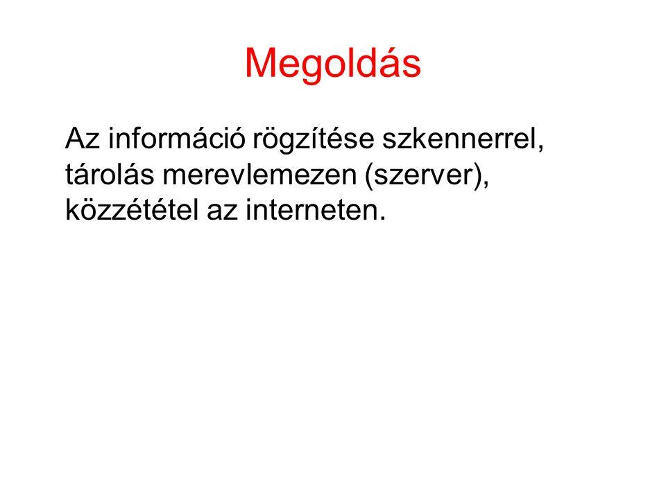 Megoldás Az információ rögzítése szkennerrel, tárolás merevlemezen (szerver), közzététel az interneten.