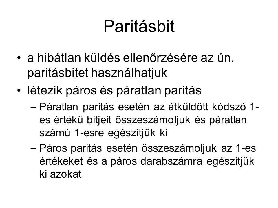 Paritásbit •a hibátlan küldés ellenőrzésére az ún. paritásbitet használhatjuk •létezik páros és páratlan paritás –Páratlan paritás esetén az átküldött