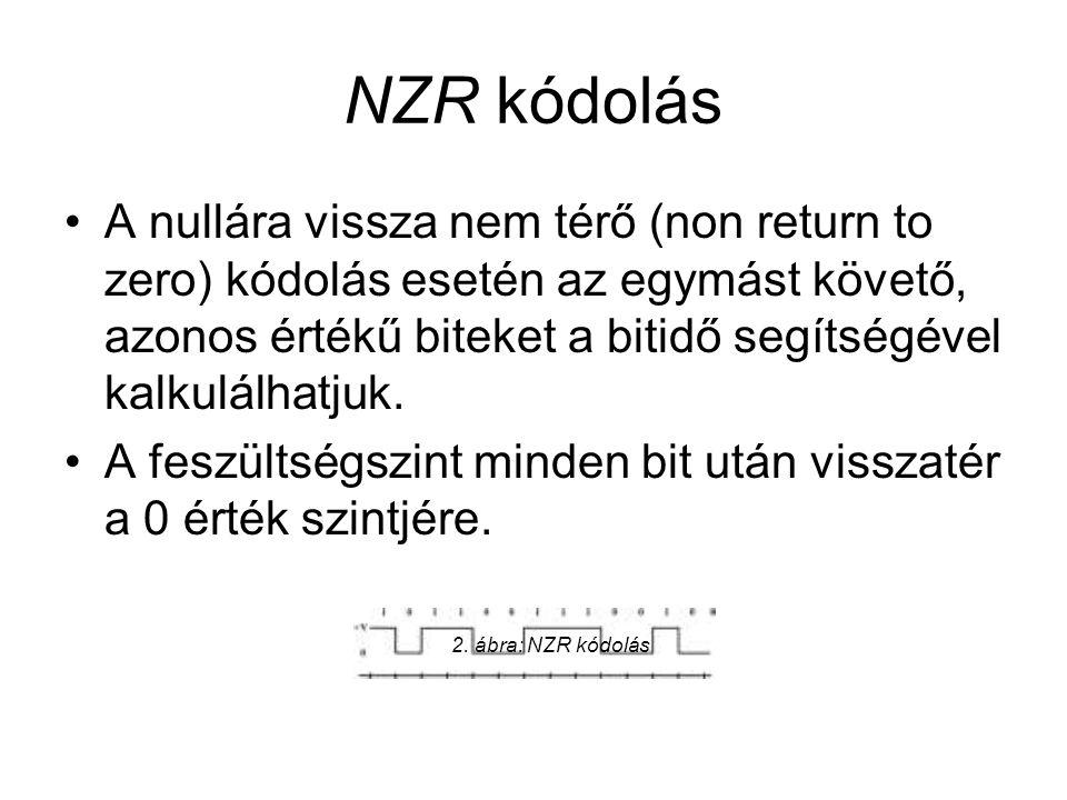 NZR kódolás •A nullára vissza nem térő (non return to zero) kódolás esetén az egymást követő, azonos értékű biteket a bitidő segítségével kalkulálhatj