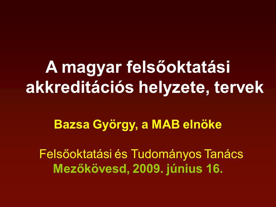 A magyar felsőoktatási akkreditációs helyzete, tervek Bazsa György, a MAB elnöke Felsőoktatási és Tudományos Tanács Mezőkövesd, 2009.