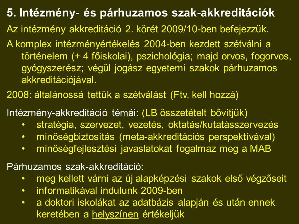 5. Intézmény- és párhuzamos szak-akkreditációk Az intézmény akkreditáció 2.