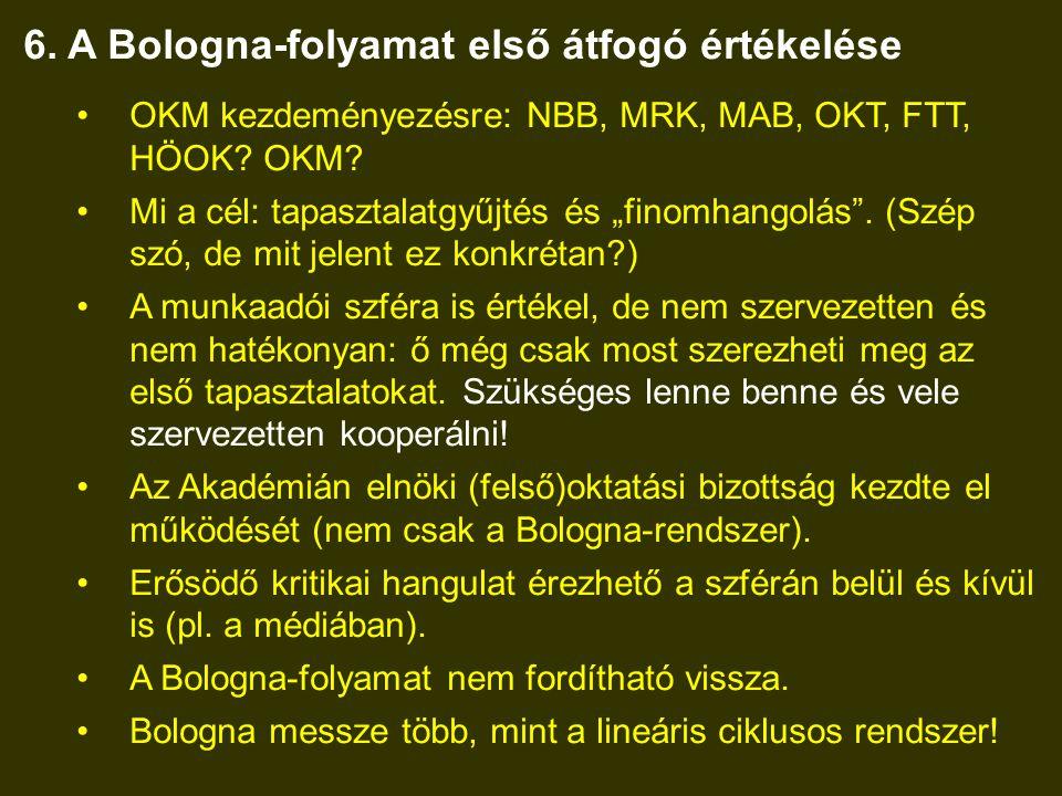 6.A Bologna-folyamat első átfogó értékelése •OKM kezdeményezésre: NBB, MRK, MAB, OKT, FTT, HÖOK.