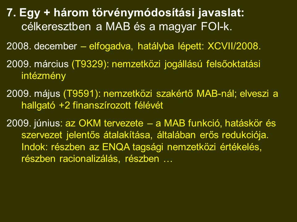 7. Egy + három törvénymódosítási javaslat: célkeresztben a MAB és a magyar FOI-k.