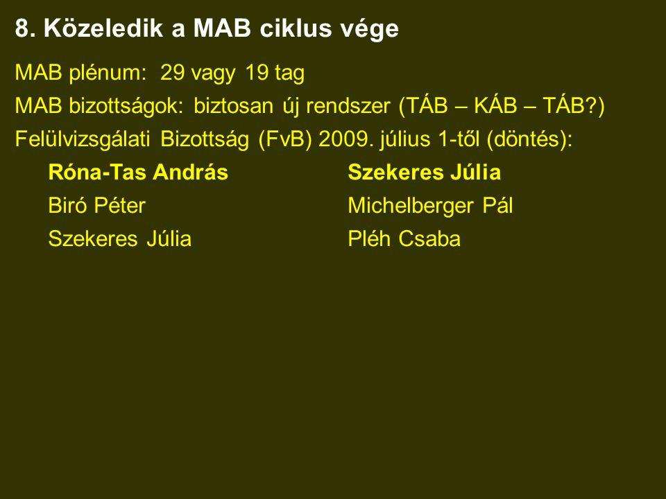 8. Közeledik a MAB ciklus vége MAB plénum: 29 vagy 19 tag MAB bizottságok: biztosan új rendszer (TÁB – KÁB – TÁB?) Felülvizsgálati Bizottság (FvB) 200