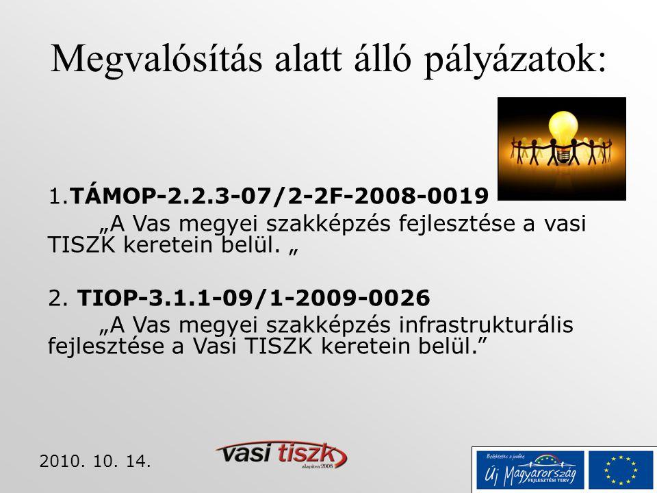 """2010. 10. 14. Megvalósítás alatt álló pályázatok: 1.TÁMOP-2.2.3-07/2-2F-2008-0019 """"A Vas megyei szakképzés fejlesztése a vasi TISZK keretein belül. """""""