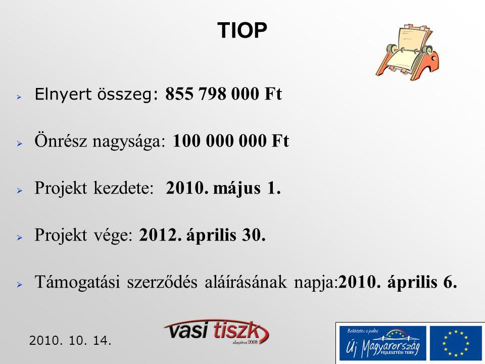 2010. 10. 14. TIOP  Elnyert összeg: 855 798 000 Ft  Önrész nagysága: 100 000 000 Ft  Projekt kezdete: 2010. május 1.  Projekt vége: 2012. április